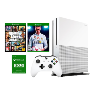 Xbox One S 1TB Console + GTA V + FIFA 18 + 3 Months Live (GP37143) Image